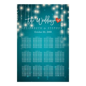 String Lights Blue Glitter Wedding Seating Chart Poster