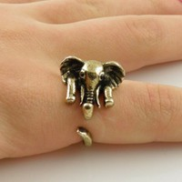 Gold Elephant Wrap Ring - SIZE 9