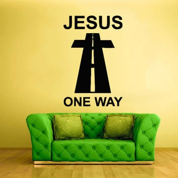 Wall Vinyl Sticker Decals Decor Art cross prayer pray god Jesus One way Christianity (z2132)