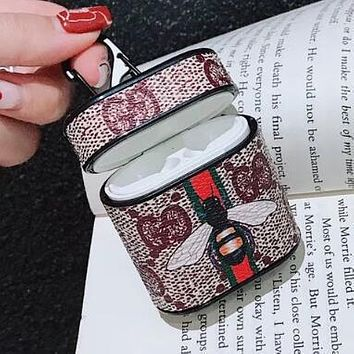GUCCI Stylish Print iPhone Airpods Headphone Case Wireless Bluetooth Headphone Protector Case(No Headphones)