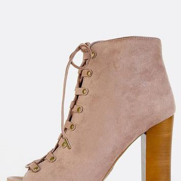 Peep Toe Lace Up Ankle Boots TAUPE