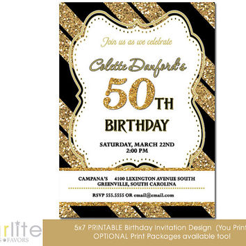 Starwedd on etsy on wanelo 50th birthday invitation milestone birthday invitation any age gold tone glitter black stripes filmwisefo