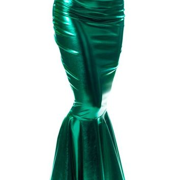 Sidecca Faux Leather Wet Look Metallic Mermaid Costume Maxi Skirt-Kelly-Large