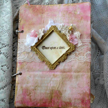 Wedding Guest Book, Shabby Chic Guestbook, Vintage, Stamped Wedding Book, Lace Wedding book, Pink Gold Glitter Wedding Book, Decoration