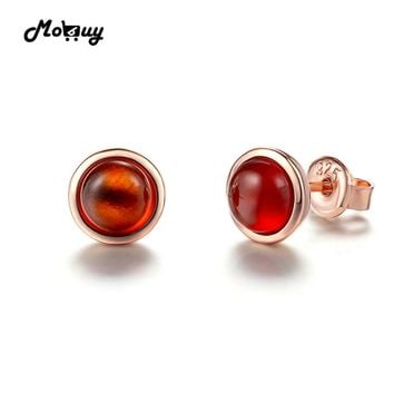 MoBuy MBEI022 Simple Round Natural Gemstone Red Garnet Stud Earrings 925 Sterling Silver Rose Gold Plated Fine Jewelry For Women