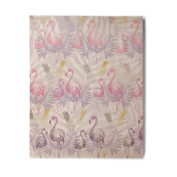 "Mmartabc ""Flamingos And Pineapples"" Purple Pink Watercolor Birchwood Wall Art"