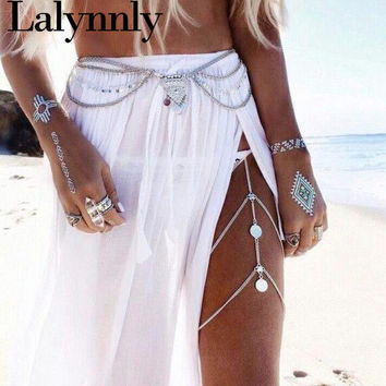 Lalynnly Unique Beach Leg Chain Jewelry Body Silver Coin Bohemian Body Jewelry for Women Female Summer Body Chain C01301