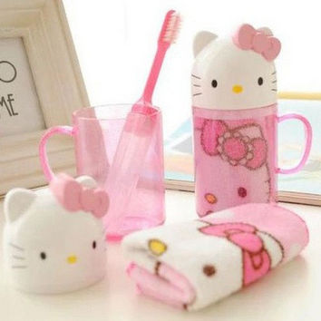 Kawaii Wash Cup Desgin - Hello Kitty , Doraemon 12.5CM Travel Plastic Bathroom Storage BOX Cup Water Mug ; Towel + Toothbrush