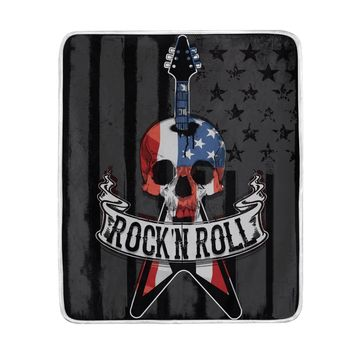 American Flag Sugar Skull Guitar Music Blanket Soft Warm Cozy