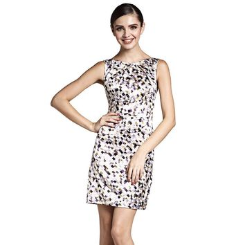 Round Neck Mosaic Print Back V Pattern Dress