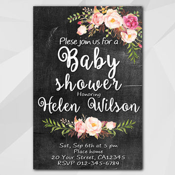 Watercolor Baby Shower Invitation, Chalkboard Invitation, Custom invitation, etsy Baby Shower invitation XB002c-1