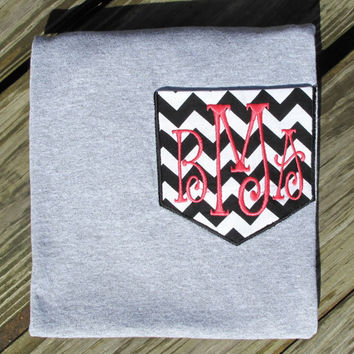 Monogrammed Chevron Pocket T Shirt by HoopinHeather on Etsy