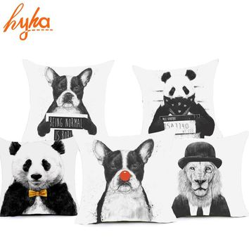 Hyha Funny Animal Polyester Pillow Case Cover 45x45cm Sketch Painting Panda Lion Dog Home Pillow Cases