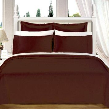 "Chocolate 550TC Olympic Queen Solid Bed in A Bag 90x92"" Combed cotton With Down Alternative Comforter"