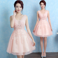 Robe De Soiree 2016 New short lace sleeveless V-Neck pink Bridesmaid Dress ever pretty Plus Size ombre dress Party Prom Dress