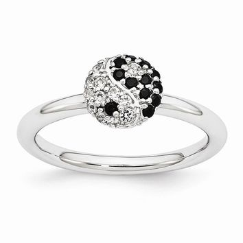 Rhodium Sterling Silver Stackable White Topaz & Onyx 8mm Yin Yang Ring