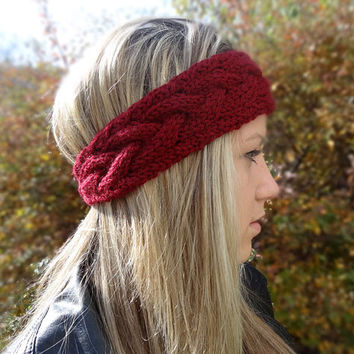 Cable Knit Headband, Earwarmer, Burgundy Red, Button Closure, Winter Headband
