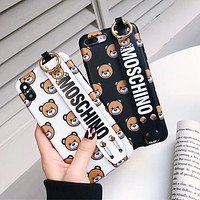 Moschino Tide brand Teddy Bear iPhone XS Max Mobile Shell Wristband Soft Case Cover