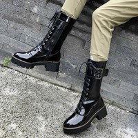 Women Fashion Patent Leather Buckle Lace Up Black Boots