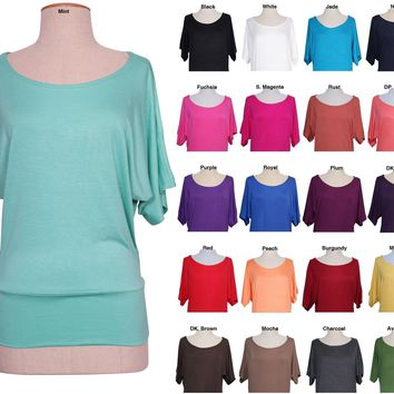 Women Solid Colored Jersey Boat Neck DOLMAN BATWING SLEEVE Drape TOP TEE Shirt