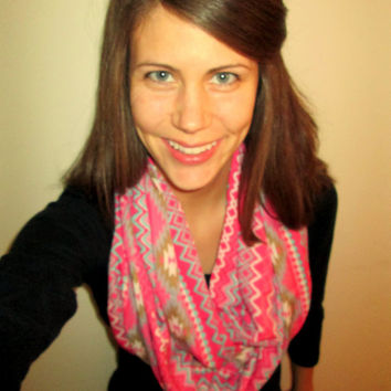 Pink Aztec,With Blue & White, Handmade, Infinity Scarf