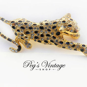 Vintage Rhinestone Leopard Brooch, Gold Tone Figural Cat, Cheetah Brooch Pin, Animal Jewelry