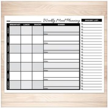 Grayscale Weekly Meal Planning Page with Grocery List - Printable