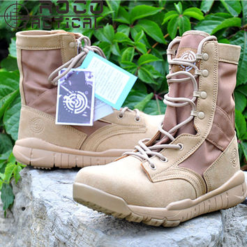 ROCOTACTICAL Ultralight Breathable Tactical Boots Mens Lightweight Camping Hiking Boots Police US Army Combat Swat Boots