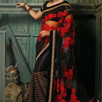 Black Net Saree with Red Floral Embroidery