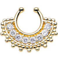 Clear Gem Gold PVD Tribal Queen Non-Pierced Clip On Septum Ring | Body Candy Body Jewelry
