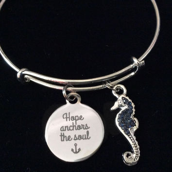 Hope Anchors the Soul Blue Seahorse Silver Expandable Charm Bracelet Adjustable Bangle Nautical Trendy Meaningful Inspirational