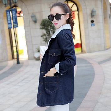 Trendy 5XL Plus Size Faux Lamb Long Denim Trench Coat Women 2018 Autumn Winter Office Thick Warm Office Embroidery Lapel Loose Overcoat AT_94_13
