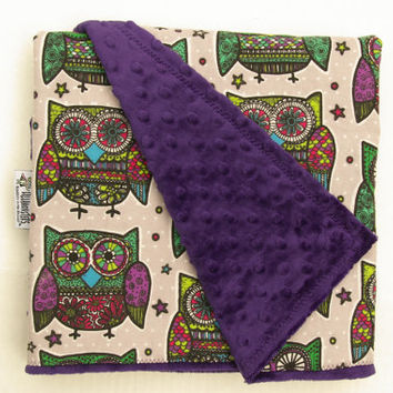 Mehndi Owl Cuddly  Baby Blanket with Dark Purple  Minky Minkee