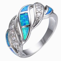 SNAZZY Blue Sapphire Opal Ring -- FREE Shipping