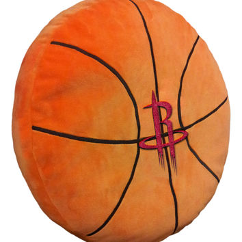 "Rockets 15""""x15""""x2"""" Embroidered Basketball-Shaped Plush Pillow with Appliqu"""""