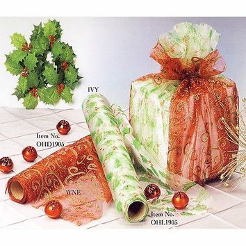 Organza Gift Wrap Roll for Christmas Holiday Season, 5-yard