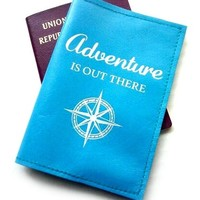 Leather Passport Cover, Passport Holder - Adventure Is Out There