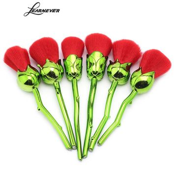 New 6pcs Red Rose Flower Brushes Powder Foundation Beauty And The Beast Enchanted Rose Make Up Brushes