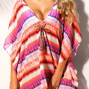 Rosy Multicolor Bohemian Print Caftan Beach Cover-up