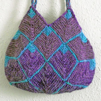 Purple Knit Purse, Purple Tote, Purple Knit Bag, Handspun Dyed Knitted Bag, Purple Turquoise Tote Knit Shoulder Purse Two Braided Handles