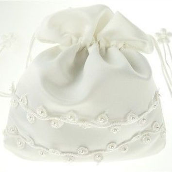 Wedding Bridal Shower Money Pouch Bag, 8-inch, Organza & Pearl, White, CLOSEOUT