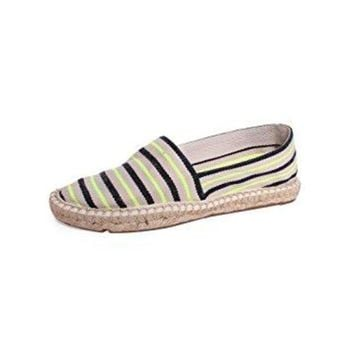CREY3DS Tory Burch Striped Canvas Espadrilles, Fluo Yellow/Tory Navy/Natural