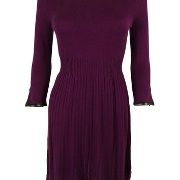 Spense Women's Pleather Trim Sweater Dress