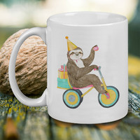 Birthday Sloth Mug, Tea Mug, Coffee Mug