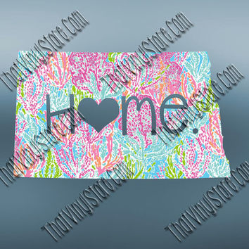 North Dakota Heart Home Decal | I Love North Dakota Decal | Homestate Decals | Love Sticker | Preppy State Sticker | Preppy State | 074