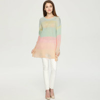 Multicolor Long Sleeve Ripped Pullover Knitted Sweater