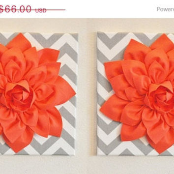 "MOTHERS DAY SALE Two Wall Flower Home Decor -Coral Dahlia on Gray and White Chevron 12 x12"" Canvas Wall Art- Baby Nursery Wall Decor-"