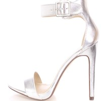 Silver Open Toe Single Sole Heels Metallic Faux Leather