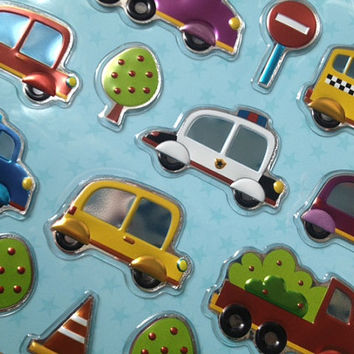 Mini toy car Sticker Baby boy bus foil sticker toy taxi Road sign sticker little boy birthday gift toy car seal label handmade car gift card