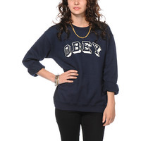 Obey University Navy Crew Neck Sweatshirt